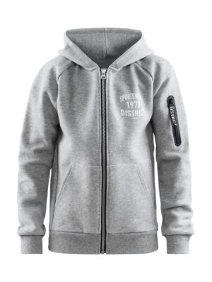 District Hood Zip Jr – Grey Melange, 158/164
